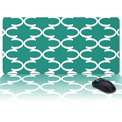 Großes Gaming-Mauspad Volles Schreibtischpad-Minimalistisches geometrisches C Marokkanisches Plaid Grün, rutschfeste Gummibasis Ergonomische XXL-Tastaturmatte für Laptop- / Computer- / Schreibtischzub