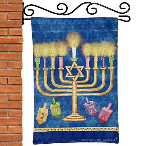 Cokosoxo Happy Hanukkah Garden Flag Holiday Menorah Chanukah Yard Flags Festive Jewish Decorations for Outdoor Outside Home House Lawn Patio