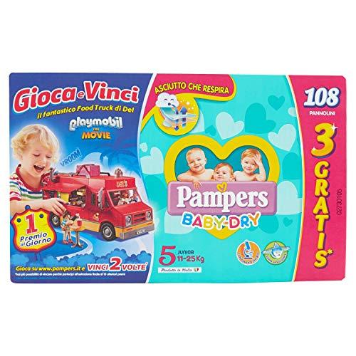 Pampers Baby Dry Pannolini Junior, Taglia 5, Megapack da 108 Pezzi