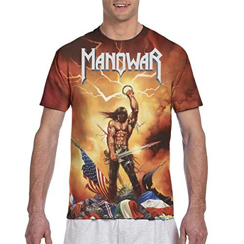 Manowar-Kings of Metal 3D-Druck Herren T-Shirt Kurzarmshirt Top Shirt Für Männer Black 3XL