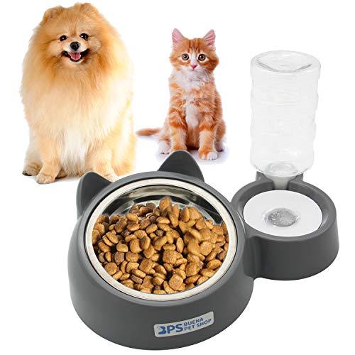 BPS Comedero y Bebedero Automático para Gatos y Perros Antisalpicaduras Dispensador Agua Alimentador Automatico Fuentes para Mascotas Tamaño M/L (L) BPS-5721