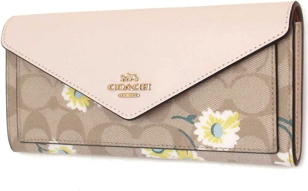 Coach Slim Envelope Wallet In Signature Canvas With Daisy Print C3721