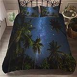 695 Tropical Isla - Juego de cama con funda de edredón y fundas de almohada para niña, diseño de cococostero en 3D, microfibra, color azul, microfibra, Noire Galaxie, 220x260cm