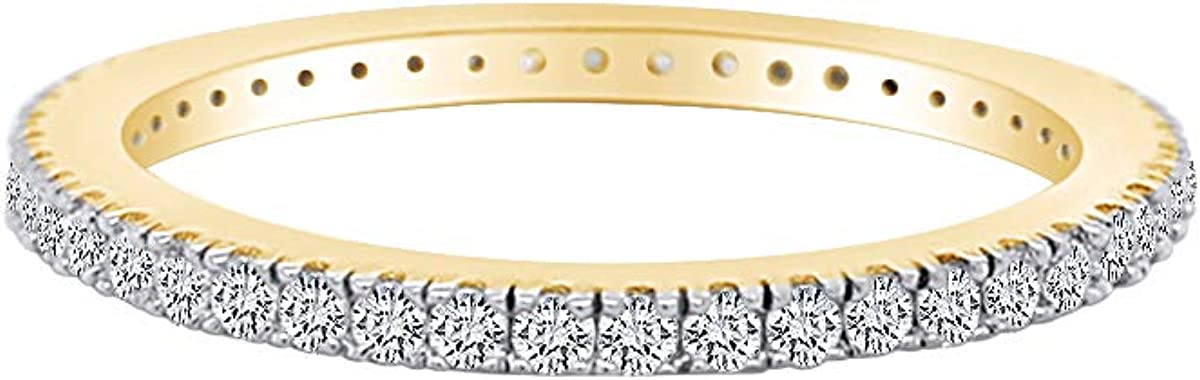 AFFY White Natural Diamond Eternity Wedding Band Ring in 10K Solid Gold (0.5 Ct)