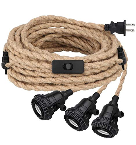 Triple Pendant Light Cord Kit with Independent Switch,...