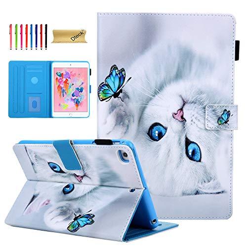 Dteck iPad Mini Case for iPad Mini 5 (2019)/ iPad Mini 4 (2015)/ iPad Mini 3 2 1 Case, Ultra Slim Leather Smart Wake/Sleep Cover Folio Multi-Angle Stand Case with Pencil Holder - Cat & Butterfly