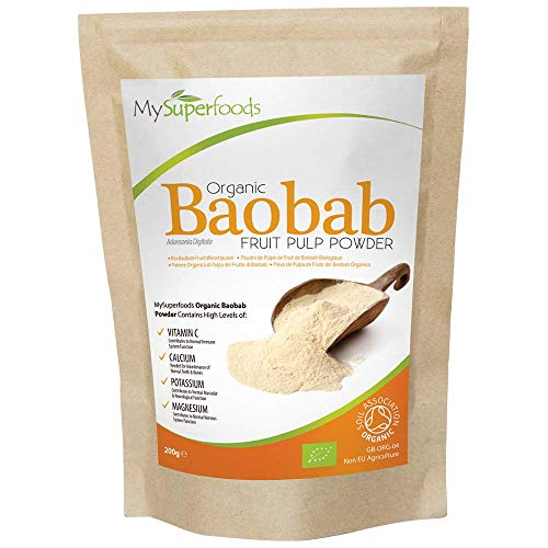 Organic Baobab Powder (200gram), MySuperFoods, Packed with Vitamin C, Calcium, Magnesium, Potassium, Certified Organic by The Soil Association, Healthy Food for Body and Mind