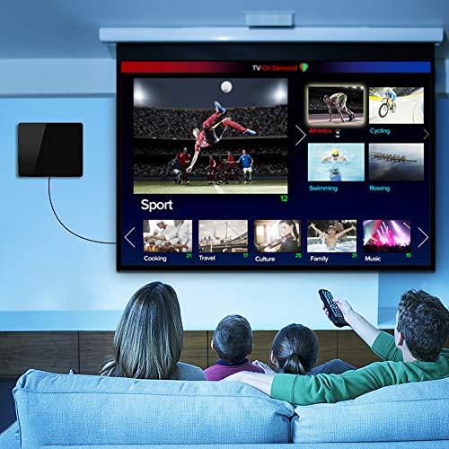 [2021 Version Améliorée] HD Antenne TV, Antenne TV Intérieure 280KM- Gamme Amplificateur Intellectuel Signal, Convient aux 1080P 4K Chaînes Télévision Gratuites,5 Mètres Câble Coaxial