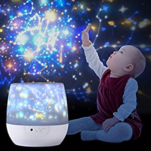 Night Light Projector for Kids, with 12 Films of Early Education, Lupantte 360 Rotating Star Galaxy Light Projector for Baby's Bedroom, Baby Shower/Birthdays Gift for Kids, 6 Modes Mood Light Lamp.