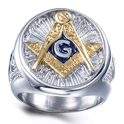 huanggua Skillful Vintage Acero Inoxidable Azul Masónico Totem Anillo para Hombres Francmasón Símbolo G Templario Masoneria Hombre Anillos Oro Anillo - Sv11