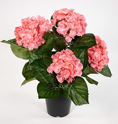 Hortensienbusch Deluxe 42cm rosa-pink im Topf LM Kunstpflanzen Kunstblumen künstliche Pflanzen Blumen Hortensie