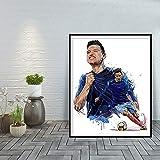 jzxjzx Florian Thauvin Art Moderne Décoration de La Maison Affiches Et Impressions Olympique De Marseille Mur Art Toile Peinture E 60x80 cm sans Cadre