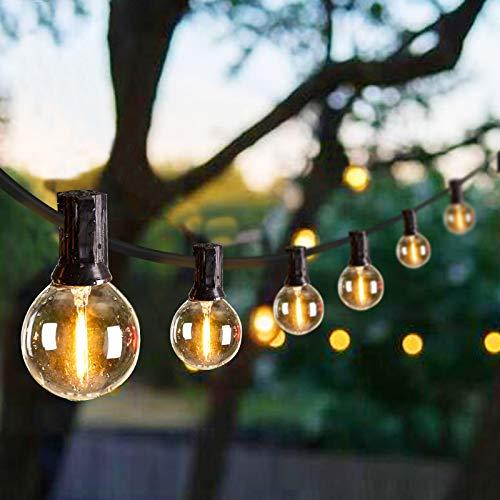 LED G40 Outdoor String Lights 8.6 m/28 Feet Patio Lights with 25 LED Shatterproof Bulbs, Weatherproof Commercial Hanging Lights for Backyard Bistro Pergola Party Decor, E12 Socket Base, 2200K, Black