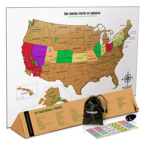 Landmass Scratch Off Map of The United States - White Scratch Off USA Map Poster - US National Parks - State Capitals - Peaks and Highways - Scratch Your Travels - 17 x 24 Inches