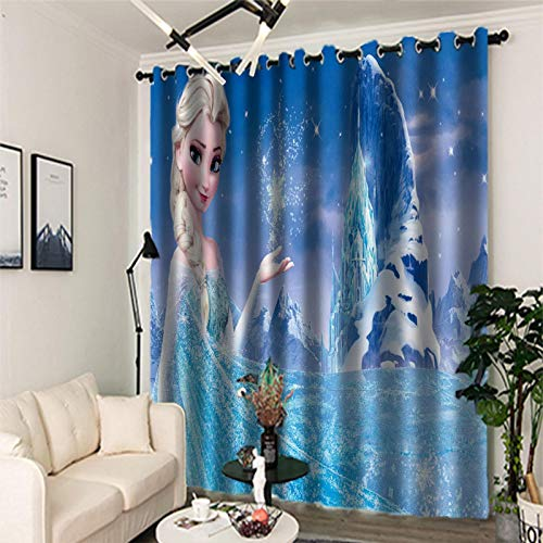 Blackout Curtains 3D Digital Printing, 2 Panels Curtain with Eyelet, Polyester, Frozen Decoration for Bedroom Living Room(2x W46xL54in / 2x 116x137cm)