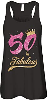 Women's 50 and Fabulous 1969 50th Birthday Gift Shirt Flowy Racerback Tank Top