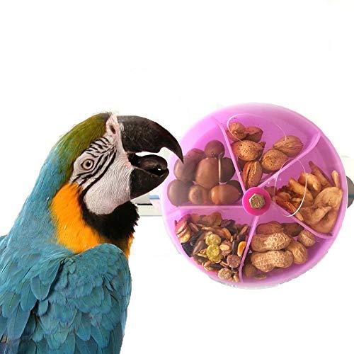 Kisata インコのおもちゃ 鳥の餌入れ 小鳥トレーニングおやつボール 知育フォージング 知育玩具 掛けタイプ小鳥噛むおもちゃ 鳥フードフィーダーセキセイインコやオカメインコ小動物に(パープル)