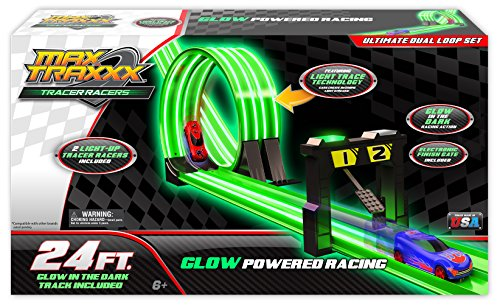 Max Traxxx Award Winning Gravity Drive Ultimate Dual Loop Set with 2 1:64 Scale Cars