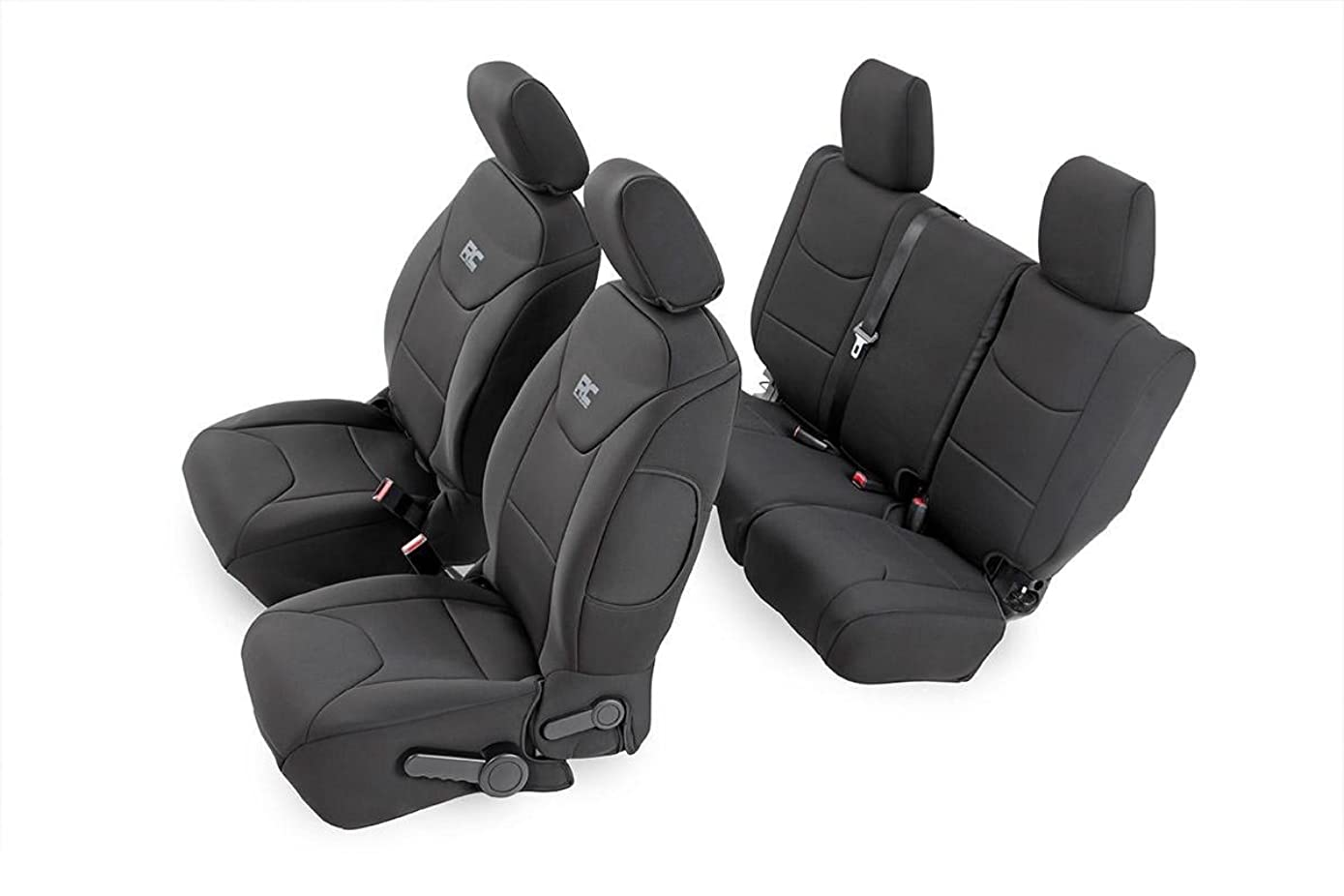 Rough Country 91004 Black Neoprene Seat Cover (Front/Rear) for 13-18 Jeep Wrangler Unlimited JK 4WD