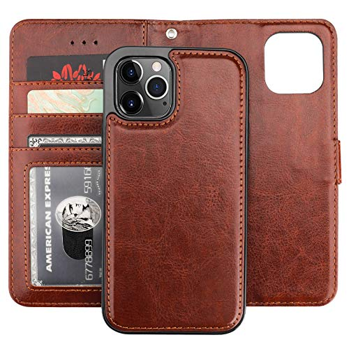 Bocasal Compatible with iPhone 12 & iPhone 12 Pro Wallet Case with Card Holder PU Leather Magnetic Detachable Kickstand Shockproof Wrist Strap Removable Flip Cover 6.1 inch (Brown)