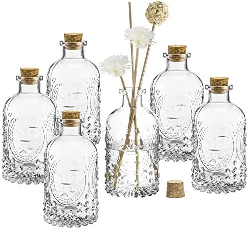 MyGift Vintage Design Embossed Fleur De Lis Clear Glass Bottles with Cork Lid Apothecary Flower product image