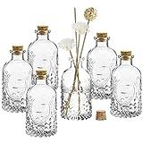 MyGift Vintage Design Embossed Fleur De Lis Clear Glass Bottles with Cork Lid, Apothecary Flower Bud Vases, Set of 6