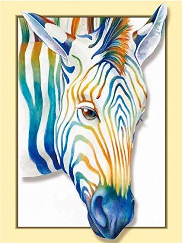 N\A Malen Nach Zahlen DIY Ölgemälde 3D Zebra Leinwanddruck Wandkunst Dekoration 40X50Cm