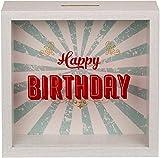 KMC Austria Design Hucha con marco de fotos y monedero – Marco de fotos decorativo como hucha para rellenar con dinero – Happy Birthday – 20 x 20 x 5 cm