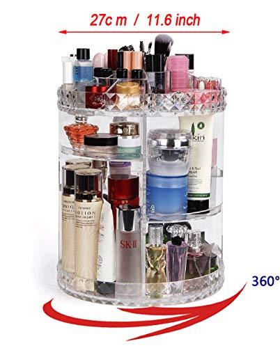 YAH Dia – Caja de almacenamiento para cosméticos de acrílico transparente, rotación de 360 grados,…