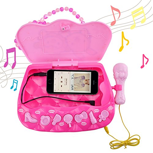 WISHTIME Girls Karaoke Machine Music Toys Multifunction Music Player Fashion Happy Girls Female Bag or Box with Music and Light 1 Microphone 1 AUX Cable for Kids 3+ (Girls Bag)