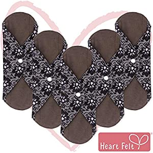 Sanitary Reusable Cloth Menstrual Pads by Heart Felt. 5 Pack Washable Sanitary Napkins with Charcoal Absorbency Layer. Overnight Long Panty Liners for Comfort and Support