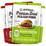 Meat Shredz - Premium Dried Pulled Pork (Variety, 4 Pack) | No Preservatives | High Protein & Low Sugar | Bacon Bits | Dehydrated Backpacking & Camping Food | Shredded, Dried Jerky Chew Snack