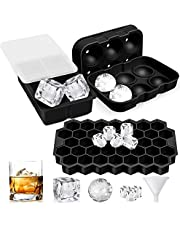 Luxerlife Ice Cube Tray, 3 Pack Silicone Ice Cube Trays with Lids, Sphere Square Honeycomb Ice Cube Mold, Flexible,Reusable, BPA Free Ice Trays for Whiske, DIY, Dishwasher Safe, Black