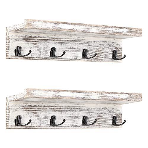 Perchero de pared vintage, juego de 2 percheros con 4 ganchos dobles, estante de pared rústico, estantería de madera para pared, puerta, perchero en el salón o la cocina, color blanco