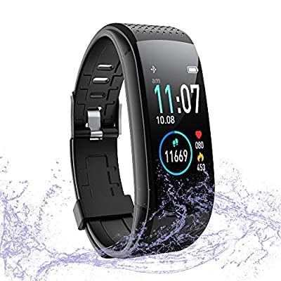 WalkerFit Fitness Tracker, Activity Tracker Pedometer Watch with Heart Rate Monitor, IP67 Waterproof, Black