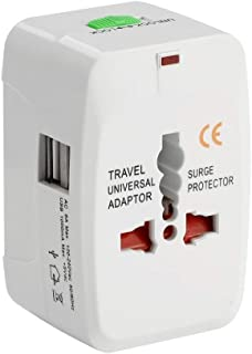 JHIMPEX Universal travel adapter, Universal adapter, Universal travel adaptor, Universal power adaptor, Universal adaptor from Australia(Au) to Europe(eu) to India with 2 X USB 2.1A Charger AC Power Wall Plug Worldwide 150 Countries with Safe Fuse for Europe Asia Germany France Italy China Russia American European Adapter Compatible with Apple, iPhone, iPad, Samsung, Huawei, Android Phones, Tablets and More