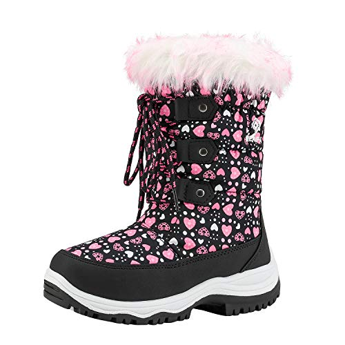 DREAM PAIRS Little Kid Nordic Black Pink Knee High Winter Snow Boots Size 3 M US Little Kid