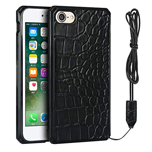 Krokodilmuster PU Handyhülle mit Trageband, Handyhülle für iPhone 7/iPhone 8 (schwarz)