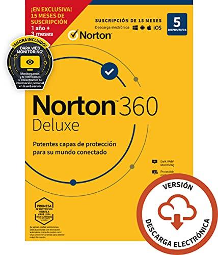 Norton 360 Deluxe 2021 - 5 Dispositivos, 15 Meses, para PC, Mac, tableta o smartphone, Código de activación enviado por email