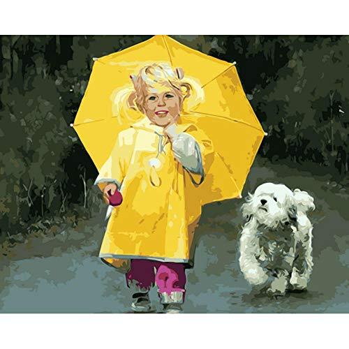 Iejsgfj DIY ölgemälde Malen nach Zahlen Kleines Mädchen mit gelbem Regenschirm Malen nach Zahlen Kits DIY Gemälde durch Geschenk für Erwachsene Kinder Vorgedruckt Leinwand Home Haus Dekor
