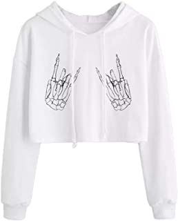 762426ad5d4 HHei K Womens Halloween Sexy Skull Claw Bone Skeleton Print Long Sleeve  Loose Drawstring Hoodies Crop Sweatshirt