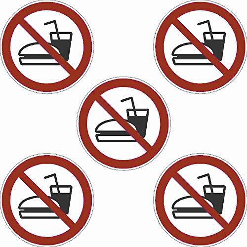 Kleberio® 5 selbstklebende PVC Aufkleber 50 mm 5 cm - Essen und Trinken verboten - für Innen & Außen geeignet Piktogramm Hinweis Aufkleber
