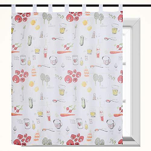 Frenessa 1 Pieza Visillo Estampadas con Presillas, Cortina Translucidas para Dormitorio o Cocina Decoración de Ventanas, Diseño de Vegetales, 140 x 140 cm