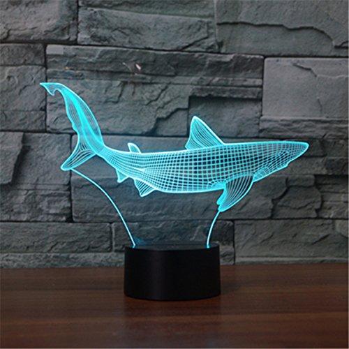 SUAVER 3D Nachtlicht, 3D Illusion Lampe 7 Farben ändern USB LED Lampe und Tischlampe Touch Stimmungslichter Für Schlafzimmer Kinderzimmer (Papier Geschnittener Fisch)