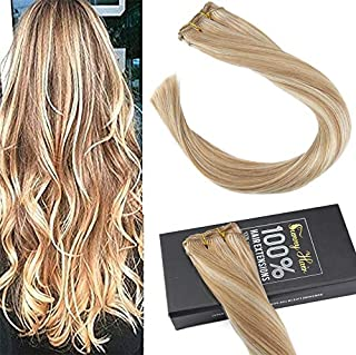 Sunny Honey Blonde with Bleach Blonde Highlight Piano Color Human Hair Extensions Weft One Bundle for Straight Or Weave Hairstyle 100g 18inch