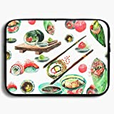 Homlife Laptop Sleeve Bag Food Sushi Colorful Patterns 13/15 Inch Briefcase Sleeve Bags Cover Notebook Case Waterproof Portable Messenger Bags