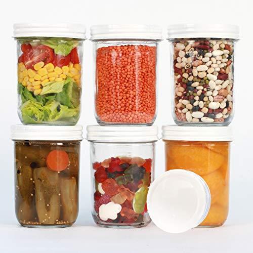 megusta!® 6er Set Einmachgläser 480 ml + 12 Etiketten, klares Glas + Deckel weiß, für Obst Gemüse, Aufbewahrung Lebensmittel, als Vorratsgläser, Kaffeedose, Lunchbox, Müslischale, Bowl Schüssel