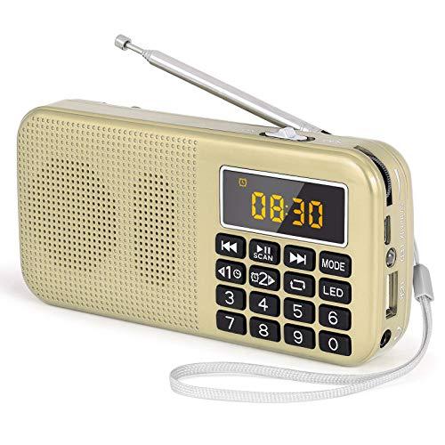 PRUNUS J-725 Radio FM SD USB MP3 Portátil con Reloj Despertador, Recargable Batería de Gran Capacidad (3000mAh,reproducciones largas 30 Horas) con Linterna de Emergencia(Oro)