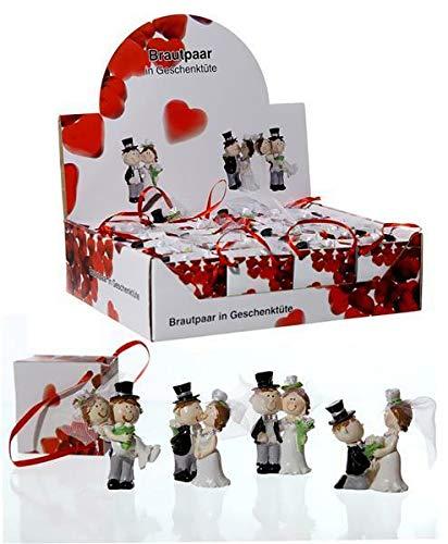 takestop SPOSI SPOSINI Wedding Set 6 Pezzi in POLIRESINA 3,5x5,5 cm BOMBONIERA BOMBONIERE in Borsa Borsetta Regalo Matrimonio SEGNAPOSTO Anniversario PROMESSA Fantasia Casuale