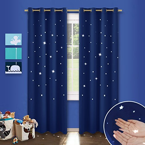 PONY DANCE Blackout Stars Panels - Window Decoration Curtain Drapes Creative Design Grommet Top Hollow out Star Curtain Drapes for Kids Nursery Rooms, 52 in Wide by 84 Long, Navy Blue, 2 Pieces
